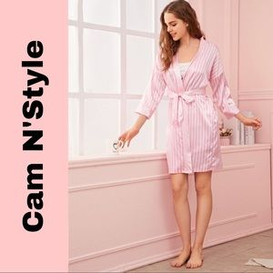 New Pink Striped Satin Silk-Like Kimono Robe
